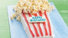 Savory popcorn and sweet cake come together in a unique dessert appealing to both old and young alike!
