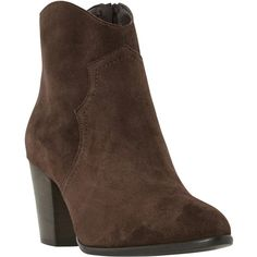 Dune Priscil Western Ankle Boots , Brown ($71) ❤ liked on Polyvore featuring shoes, boots, ankle booties, brown, cowgirl boots, flat booties, ankle boots, brown leather booties and high heel ankle boots