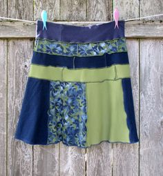 Upcycled Skirt T Shirt Skirt Olive Navy Recycled Cotton Tshirts Large XL ECO Clothing by ThankfulRose on Etsy