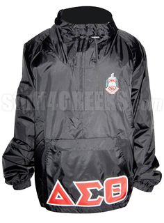 BLACK DELTA SIGMA THETA PULLOVER ANORAK JACKET WITH LETTERS AND CREST  Item Id: PRE-PL-DSQCRST-BLK    Price: $99.00