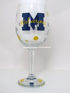 Michigan Wolverines wine glass #ultimatetailgate #fanatics  I WANT ONE AND I DON'T EVEN DRINK WINE...LOL