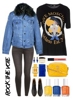 """""""rock the vote"""" by rasc2016 ❤ liked on Polyvore featuring Love Moschino, Forte Couture, A.P.C., Gucci, Essie, Smashbox, Anne Sisteron, Tom Ford, Appetime and Toolally"""