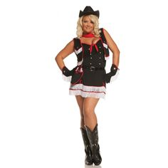 Dirty Desperado Plus Size Costume - 7 pc. costume includes dress, vest, gloves, belt, holster, neck piece and cowgirl hat.