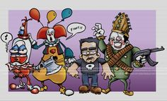 pogo the clown, pennywise, edblood and the sad clown