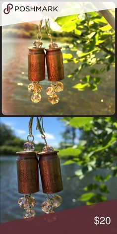 Bullet Earrings Beautiful Bullet Earrings w/crystals 925 hooks, acid etched details. A lot of work goes into these earrings, the acid etching is very time consuming, but the results are well worth the effort that is involved with acid etching. Winchester Casings  Jewelry Earrings