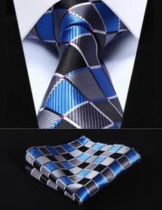 Cheap mens ties, Buy Quality square tie directly from China handkerchief set Suppliers: Blue Gray Check Silk Woven Men Tie Necktie Handkerchief Set Party Wedding Classic Pocket Square Tie Pocket Square Styles, Tie And Pocket Square, Pocket Squares, Blue Grey, Gray, Wedding Ties, Party Wedding, Tie Styles, Long Ties