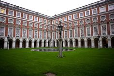 Fountain Court, Hampton Court Palace. Unrivaled in instilling peace and a sense of majesty in its viewer. Hampton Court is a royal palace in the London Borough of Richmond upon Thames, Greater London, in the historic county of Surrey.