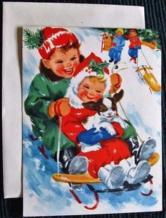 Vintage Christmas Card UNUSED Children Cute Girl Boy Puppy Sledding Downhill in Collectibles, Paper, Vintage Greeting Cards, Christmas Vintage Greeting Cards, Vintage Christmas Cards, Vintage Holiday, Christmas Greeting Cards, Christmas Greetings, Holiday Cards, Very Merry Christmas, Xmas, Christmas Canvas