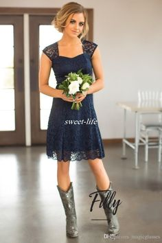 Country Short Lace Bridesmaid Dresses Sheath Open Back Sweetheart Knee Length 2017 Navy Blue Wedding Guest Gowns Maid of Honor Party Dress