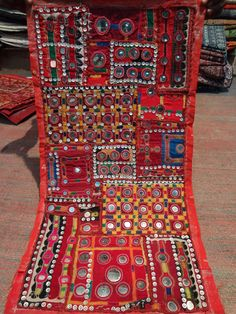 old banjara mirror work patchwork wall by jaisalmerhandloom, $89.00