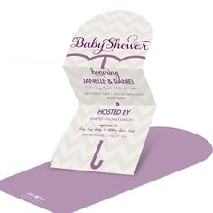 Unfold the die-cut umbrella to reveal the chic baby shower invitations inside! These trifold invites are cut at the top in a half-circle shape, and open to reveal all the important shower details tucked inside!
