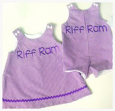 THESE ARE FREAKING ADORABLE - TCU Riff Ram Brother Sister Outfits - Purple Gingham