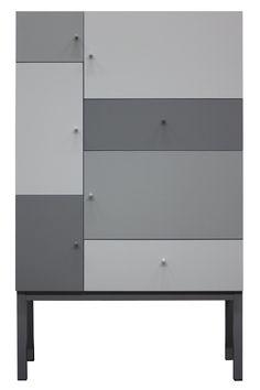 COLOR GRÅ MIX-snyggt och modernt skåp som passar in de flesta miljöer. Skåpet har 5 dörrar och 2 lådor.