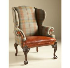 Relaxed Hunt Club Finished Wing Back Chair, Wool Plaid and Cognac Leather Upholstery - Chairs & Recliners - Living Room - Furniture | Boyles.com