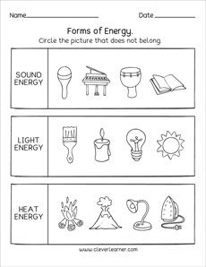 Sources Of Energy Printables And Worksheets For First Grade And
