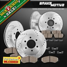 Ceramic Pads For Silverado Sierra 2500 3500 Automotive Front+Rear Drill Slot Brake Rotors