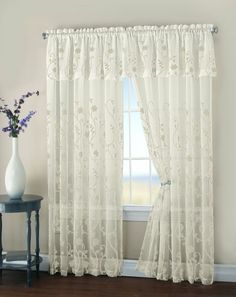 """HLC.ME Malta Floral Embroidery Matte Sheer with Attached Valance Window Curtain Panel - 84"""" Long (Beige/Beige)"""