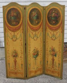 Antique French Victorian O/C floral oil painted triple folding screen.