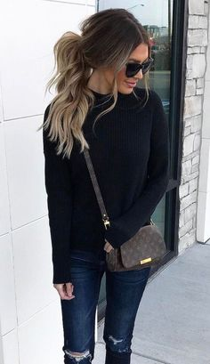 cute casual outfit - distressed jeans, black sweater and louis vuitton crossbody
