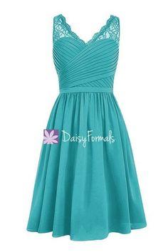 Cyan V-Neckline Bridesmaids Dress Short A-line Knee Length Formal Dress (BM2348)