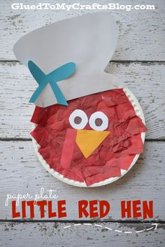 Not only is this paper plate little red hen craft simple, inexpensive and fun for all ages - but it also ties everything together with the classic story. Rhyming Preschool, Preschool Crafts, Preschool Library, Preschool Halloween, Paper Plate Crafts, Book Crafts, Paper Plates, Little Red Hen Activities, The Little Red Hen Preschool