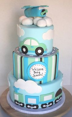 baby boy fondant cakes | cars planes trains baby shower cake this boy baby shower