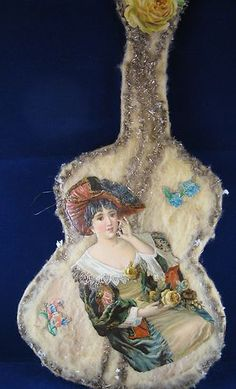 Antique Large Cotton Batting Die Cut and Tinsel Guitar Violin Christmas Ornament | eBay
