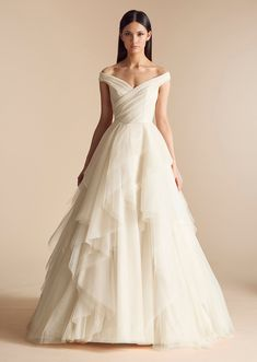 Augusta by Allison Webb - Off the Shoulder Layered Tulle Ball Gown