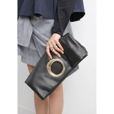 Faux Leather Gold Buckle Clutch