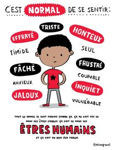 Here is a mini-poster that I made to teach boys that they have the right to have and express their difficult emotions, them to . French Teacher, Teaching French, Elise Gravel, Teaching Boys, Core French, Ap French, Education Positive, French Expressions, French Classroom