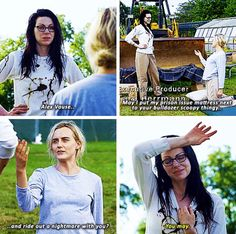 Alex Vause, may I put my prison issue mattress next to your bulldozer scoopy thing and ride out a nightmare with you? You may. Oitnb s5