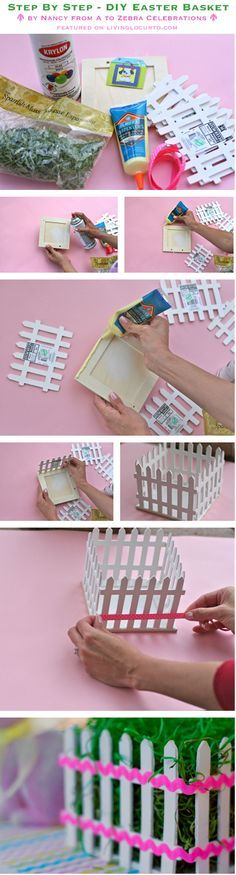 DIY Easter Basket (picket fence) Centerpiece {Craft Tutorial}  Also could be used for Spring Shower centerpieces, etc...Wedding centerpieces.  Use those imaginations!