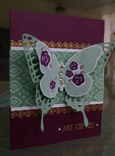 """New hostess set called """"floral wings"""". Done in blackberry bliss and a new """"in colour"""" mint macaron..."""