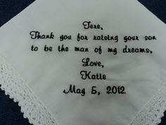 Gift for Mother In Law of the Bride from the Bride Wedding Handkerchief Personalized. $23.00, via Etsy.
