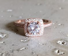 Square Engagement Rose Gold Ring Cubic Zirconia Promise by Belesas