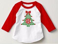 Monogram Christmas Tree Shirt-Girl Monogram Christmas Shirt-Cute Christmas Shirt-Toddler Kid's Christmas Monogram Shirt-Christmas Shirts by DesignsByANM on Etsy