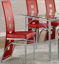 Amazon.com - Coaster Set of 2 Dining Chairs Red Leather Like Metal Legs Matte Silver Finish - Glass Kitchen Table