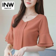 Cheap Blouses & Shirts, Buy Directly from China Womens Tops And Blouses Summer Flare Sleeve Chiffon Blouse Shirt Women Tops Ladies Work Wear Office Blusa Feminina Shirts Ladies Blouses, Cheap Blouses, Shirt Blouses, Work Wear Office, Crochet Vest Pattern, Chiffon, Fashion Sewing, Diana, Fashion Outfits
