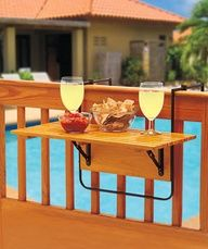 deck table that folds away when not in use