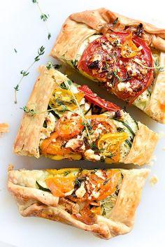 Tomato, Zucchini, Caramelized Onion and Feta Galette   foodiecrush.com