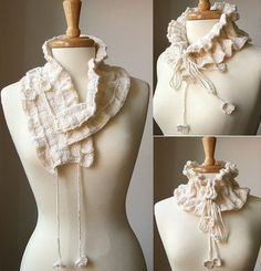 Scarf Knitting Pattern Victoriana Scarflette by AtelierTPK....could use style to modify as a simple crocheted pattern