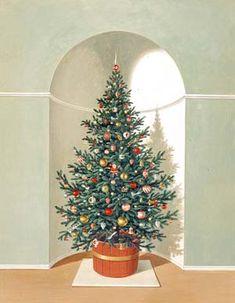 Christmas Tree in Niche ~ by Charlotte Joan Sternberg, American painter, (1920-2003)