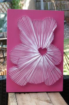 Nursery Teddy String Art by HeartStringsBySez on Etsy Diy Crafts For Girls, Arts And Crafts For Teens, Diy And Crafts, Nail String Art, String Crafts, Cotton Gifts, Sewing Cards, Etsy, Diy Gifts