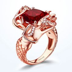 Romantic Cushion Cut Ruby Rose Gold Rhodium Plated Sterling Silver Mermaid Engagement Ring