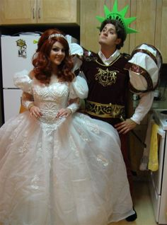 "Nick Pitera and Kelly Johnson as Prince Edward and Gisele from ""Enchanted"""