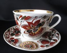 Russian Imperial Lomonosov Porcelain Bone Tea cup & saucer Caramel 22k Gold Lfz - Google Search