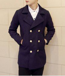 $32.96 Casual Style Turn-down Collar Solid Color Double Breasted Long Sleeves Woolen Coat For Men