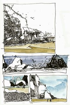 sketchbookseduction: 100 (Almost) Views of Haystack Rock Landscape Sketch, Landscape Drawings, Landscape Art, Landscapes, Sketch Painting, Watercolor Sketch, Tree Sketches, Drawing Sketches, Storyboard