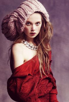 Holly Rose Emery in Australian Vogue wearing the oversized accessory of the season, the Giles beanie.