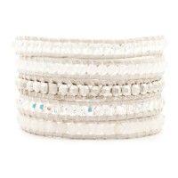 Clear Quartz Mix Wrap Bracelet on Antique White Leather